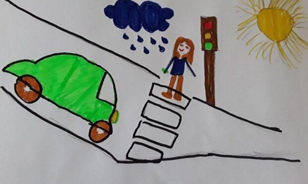 Vaikų piešiniuose saugaus eismo gatvėse tema